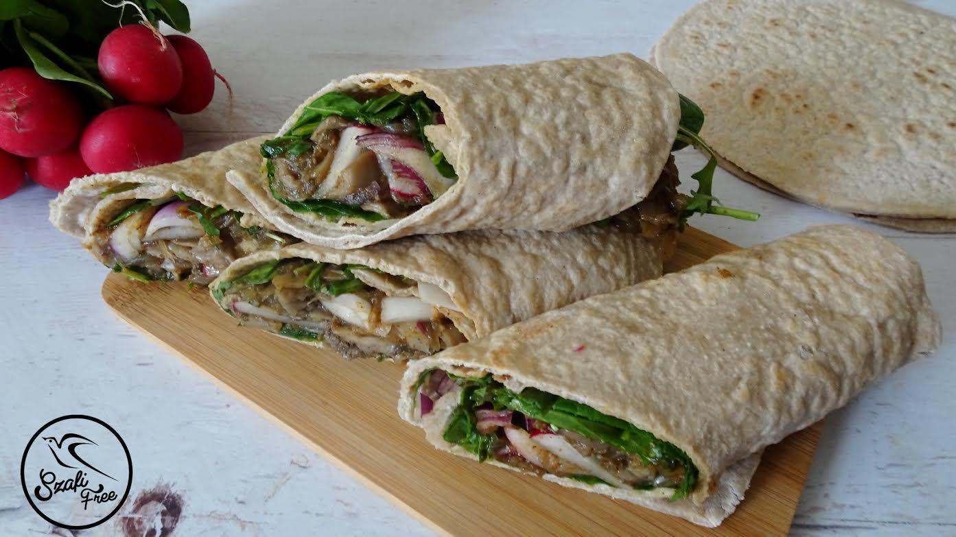 Gluténmentes vegán gombás burrito